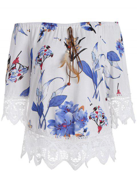 Lace Insert Off The Shoulder Floral Top - BLUE M