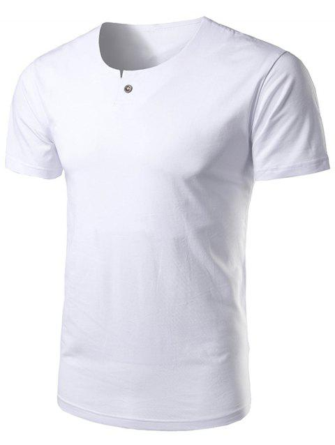 Short Sleeve Notch Neck T-Shirt - WHITE 4XL