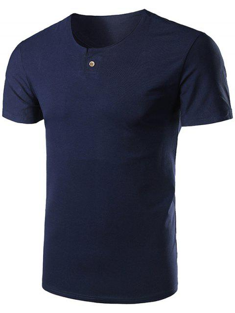 Short Sleeve Notch Neck T-Shirt - CADETBLUE 4XL