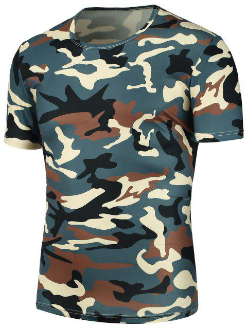 Camouflage Print Crew Neck T-Shirt - CAMOUFLAGE XL