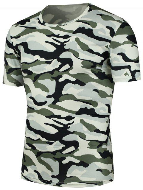Camouflage Print T-Shirt - CAMOUFLAGE XL