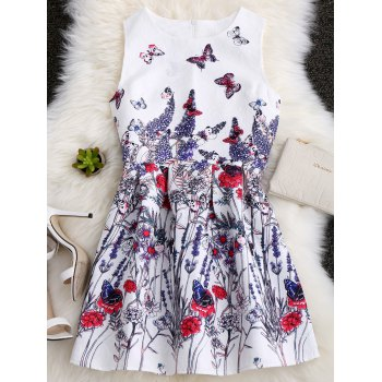 Sleeveless Sundress with Butterfly Floral Painting