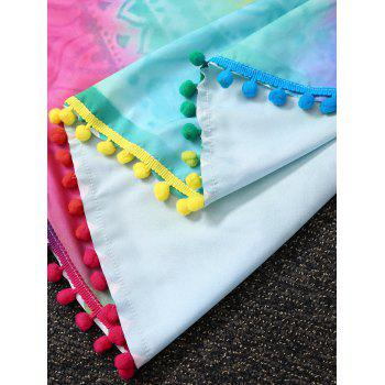 Ombre Color Beach Throw With Plush Ball Edge - COLORMIX COLORMIX