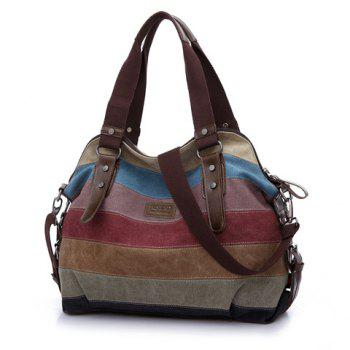 Casual Buckle and Striped Design Shoulder Bag For Women -  BROWN