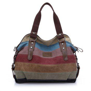 Casual Buckle and Striped Design Shoulder Bag For Women - BROWN BROWN