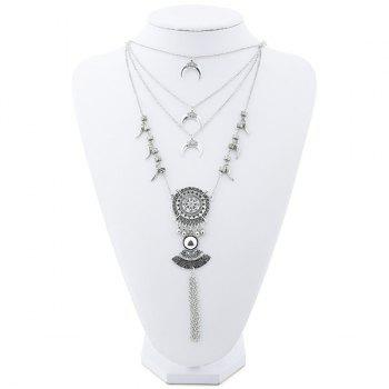 Boho Crescent Sun Totem Fringed Layered Necklace - SILVER SILVER