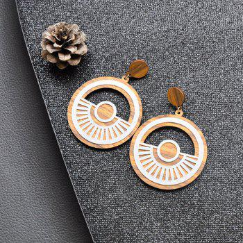 Hollow Out Tyre Wooden Earrings