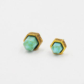 Geometrical Faux Turquoise Double Sided Stud Earrings - GOLDEN GOLDEN