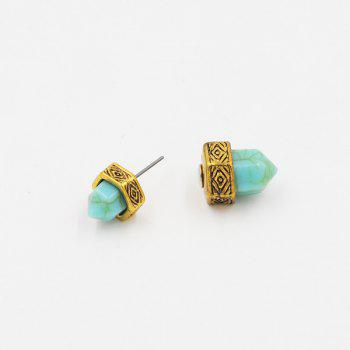 Geometrical Faux Turquoise Double Sided Stud Earrings -  GOLDEN