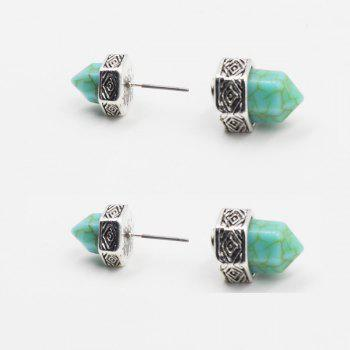 Geometrical Faux Turquoise Double Sided Stud Earrings -  SILVER