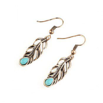 Vintage Plating Leaf Engraved Hook Earrings - GOLDEN