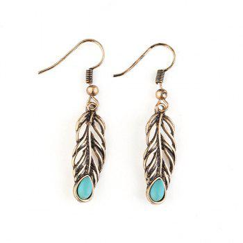 Vintage Plating Leaf Engraved Hook Earrings - GOLDEN GOLDEN