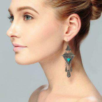 Faux Turquoise Boho Triangle Fringed Drop Earrings
