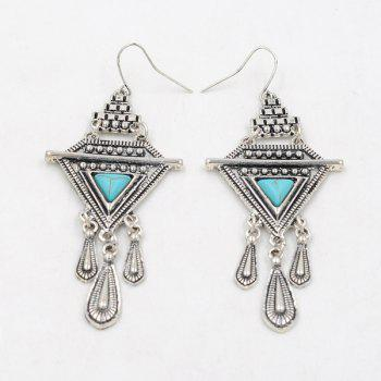 Faux Turquoise Boho Triangle Fringed Drop Earrings -  SILVER