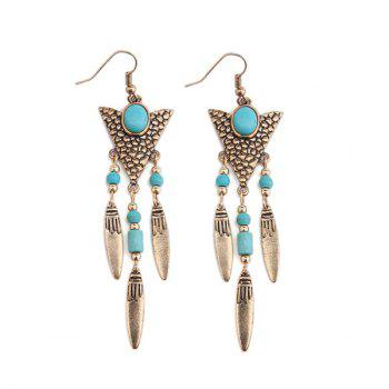 Buy Faux Turquoise Triangle Fringed Drop Earrings GOLDEN