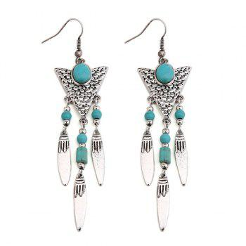 Faux Turquoise Triangle Fringed Drop Earrings - SILVER SILVER