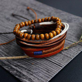 Layer Beaded Faux Leather Bracelets