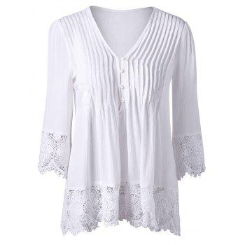 Crochet Trim Pintuck Longline Blouse