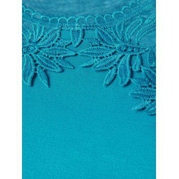 Plus Size Lace Panel Longline Tank Top - LAKE BLUE LAKE BLUE
