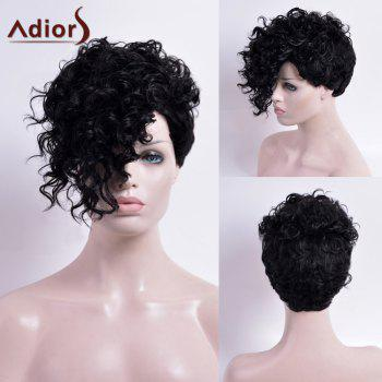 Adiors Short Capless Synthetic Curly Wig - BLACK BLACK
