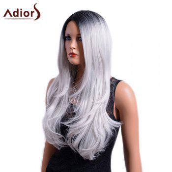 Adiors Long Gradient Centre Parting Dark Root Slightly Curly Synthetic Wig -  COLORMIX