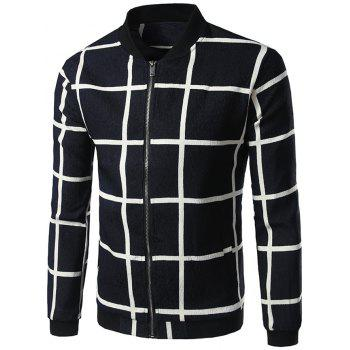 Zipper Up Grid Jacket