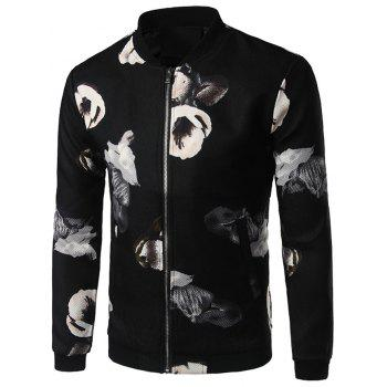 Textured Floral Print Zip Up Jacket - BLACK BLACK