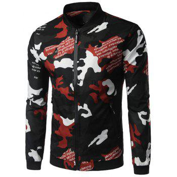 Zipper Up Graphic Print Camo Jaket