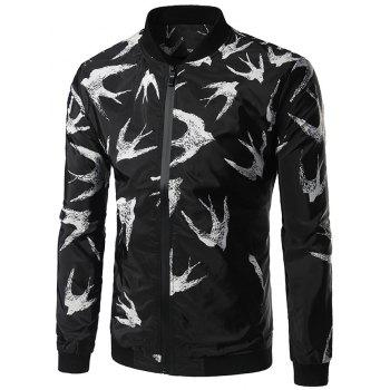 Swallow Print Zipper Up Jacket