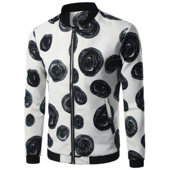 Polka Dot Zipper Up Jacket