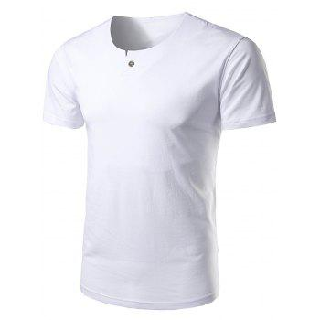Short Sleeve Notch Neck T-Shirt - WHITE WHITE