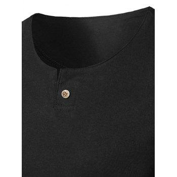Short Sleeve Notch Neck T-Shirt - BLACK BLACK