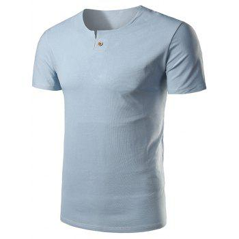 Short Sleeve Notch Neck T-Shirt - WINDSOR BLUE 4XL