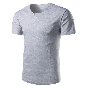 Short Sleeve Notch Neck T-Shirt - GRAY 4XL