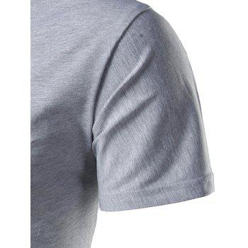 Short Sleeve Notch Neck T-Shirt - 4XL 4XL