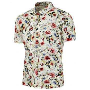 Flowers Printed  Short Sleeves Shirt - RED XL