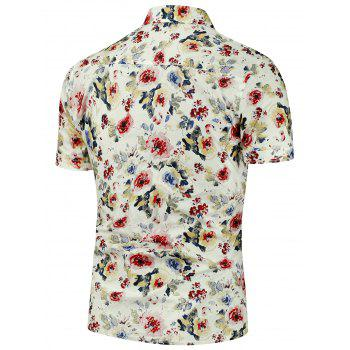Flowers Printed  Short Sleeves Shirt - XL XL