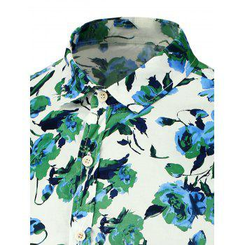 Floral Printed Short Sleeves Beach Shirt - GREEN GREEN