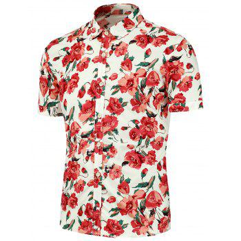 Floral Printed Short Sleeves Beach Shirt - RED RED