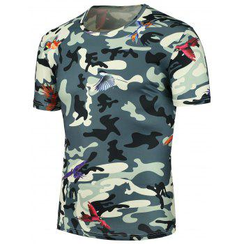 3D Camouflage Fly Bird Printed T-Shirt