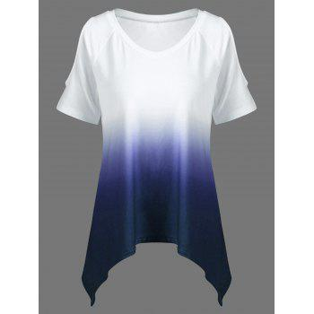 V Neck Ombre Open Shoulder Asymmetrical T-Shirt