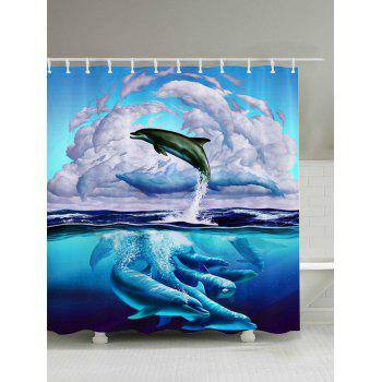 3D Dolphin Leaping Print Bathroom Shower Curtain