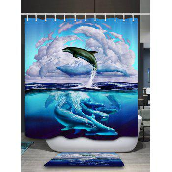 3D Dolphin Leaping Print Bathroom Shower Curtain - BLUE BLUE