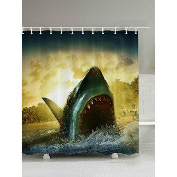 3D Shark Bathroom Shower Curtain
