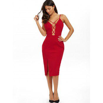 Low Cut Strappy Backless Slip Sheath Dress - S S