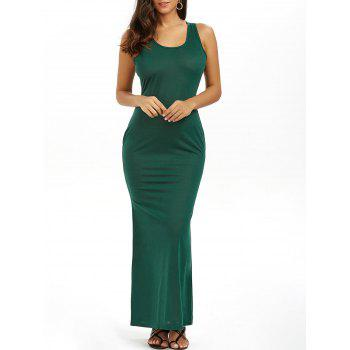 Racerback Summer Casual Summer Maxi Dress - BLACKISH GREEN BLACKISH GREEN