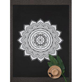 Rectangle Mandala Lotus Print Beach Throw - BLACK BLACK