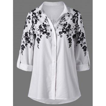 Screen Floral Print Button Up Shirt - WHITE AND BLACK L