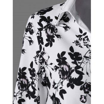 Screen Floral Print Button Up Shirt - L L