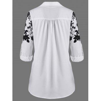Screen Floral Print Button Up Shirt - WHITE/BLACK L